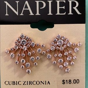 Napier Rose gold tone post earrings cubic zirconia